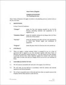 Plumbing Contract Sle by Doc 500646 Plumber Contract Terms Of Business Template