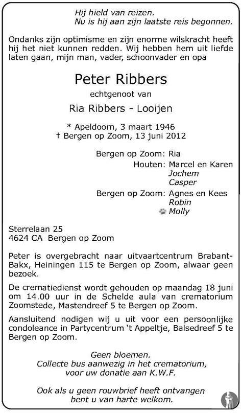 Peter Ribbers 13-06-2012 overlijdensbericht en