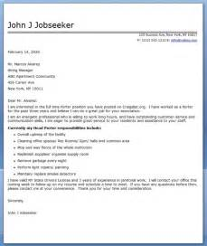porter cover letter sle resume downloads