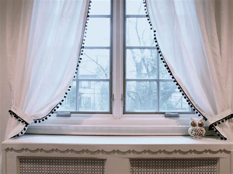 white curtains with pom poms perfect pom pom curtains giveaway winner joey and