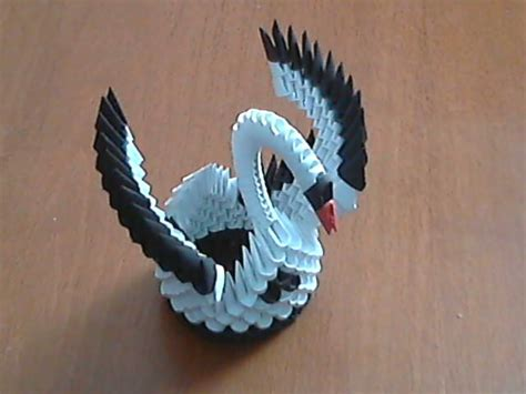 3d Origami Small Swan - how to make 3d origami black and white small swan model1