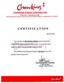 Certification Letter In The Philippines Fast Food Chowking Pul Cert Reyeselmerjoson Flickr