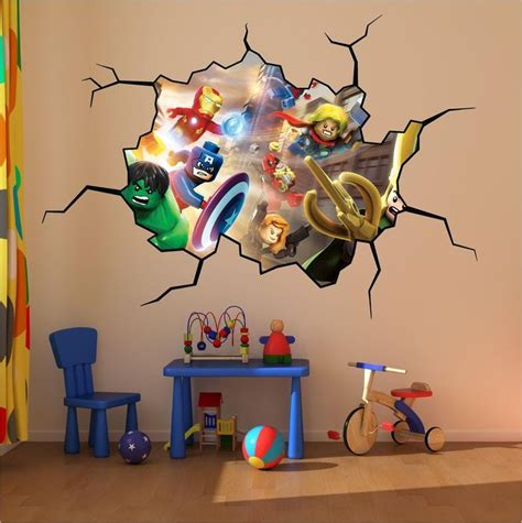 superheroes wall stickers lego heroes cracked wall colour print wall sticker decal mural