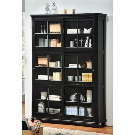 black bookcases with glass doors 2018 popular black bookcases with glass doors