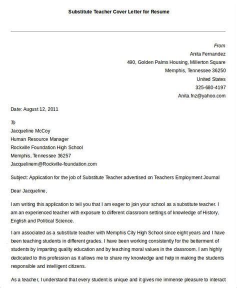 cover letter exles for substitute teachers free resume 40 free word pdf documents