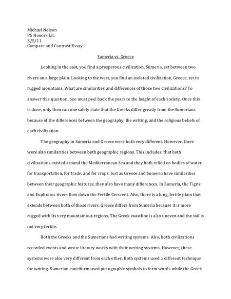 Essay About Greece by Tt Compare And Contrast Essay