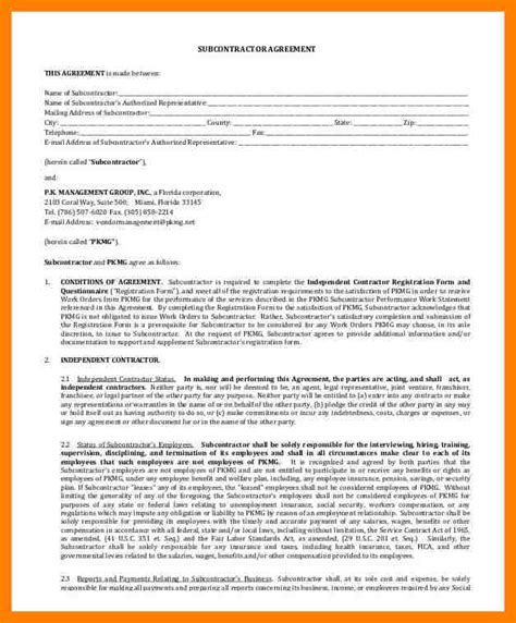 subcontractor contract template 11 simple subcontractor agreement packaging clerks