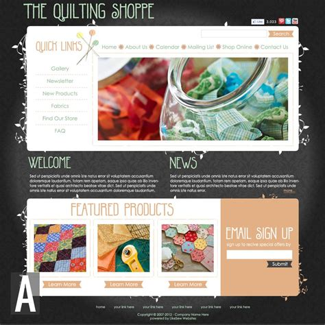 Quilting Website Templates Quilting Sewing Website Templates