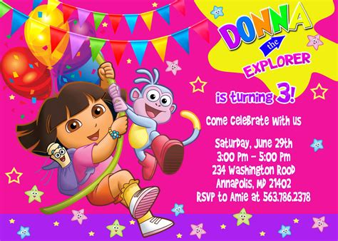 dora the explorer printable party decorations dora the explorer birthday party invitation by