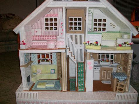 pattern for barbie doll house front view of second dollhouse a pinner made using plastic