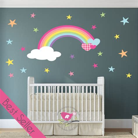 rainbow wall stickers uk magical nursery rainbow wall sticker
