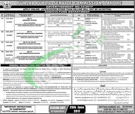 pattern tester jobs ppsc advertisement 34 2017 agriculture department latest