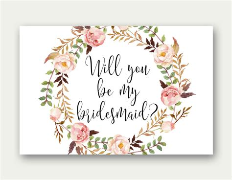 Bridesmaid Printable Will You Be My Bridesmaid Bridesmaid Will You Be My Bridesmaid Letter Template