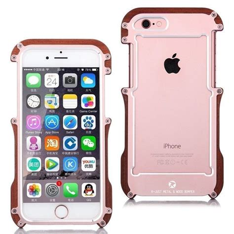 r just 174 apple iphone 6 plus 6s plus iron nyatoh wood bumper aluminium metal bumper