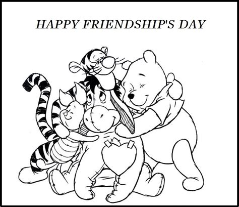 Friendship Coloring Page Happy Friendship S Day Winnie The Pooh And Friends by Friendship Coloring Page