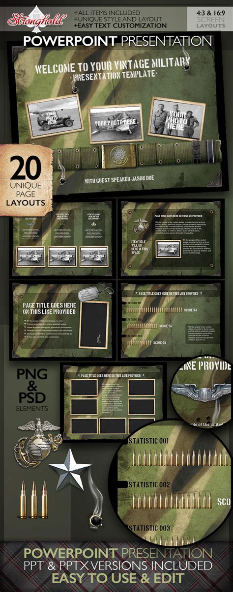 military templates for photoshop vintage military powerpoint presentation on behance