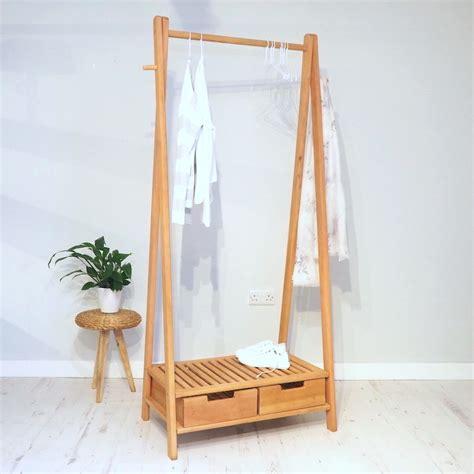 Baru 03 Multifunction Wardrobe Cloth Rack With wooden clothes rail stockholm zaza homes