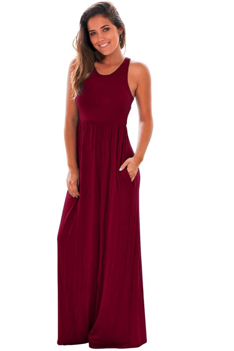 Maxi Shiren Set Maroon 3in1 us 8 51 burgundy racerback maxi dress with pockets dropshipping