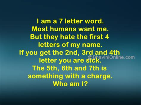 4 Letter Words Riddle word riddle i am a seven letter word
