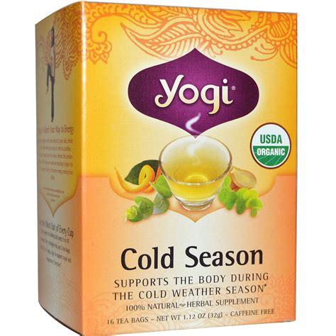 yogi tea organic cold season caffeine free 16 tea bags 1 12 oz 32 g iherb com