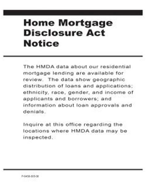 poster home mortgage disclosure act fdic