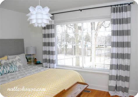grey and white horizontal striped curtains nalle s house master bedroom progress curtains