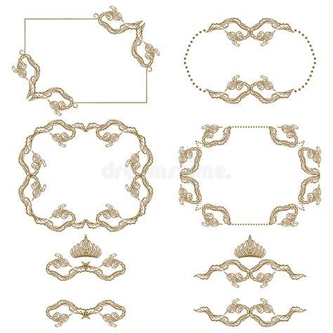set of arabesque pattern frame border vector set of gold decorative borders frame stock vector