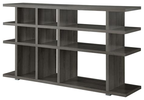 grey wood shelves weathered gray wood bookcase console with 15 shelves contemporary bookcases by adarn inc