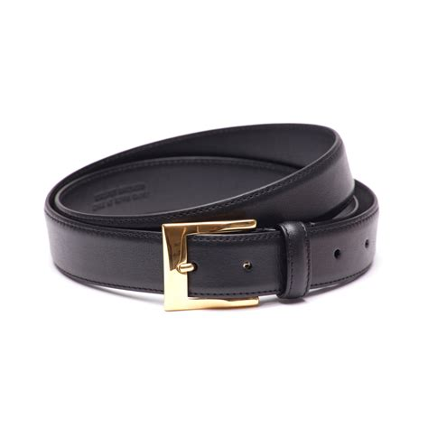 soft calf leather belt with brass buckle black dege
