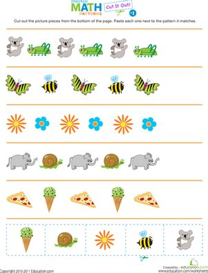 patterns in nature lesson plans kindergarten cut it out patterns 1 worksheet education com