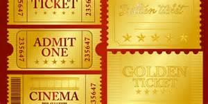 Golden Ticket Template Editable by Vector Golden Ticket Design Elements Bypeople