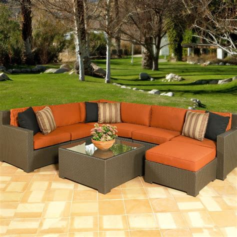 Outdoor Patio Sectional Furniture All Weather Wicker Outdoor Sectional Seating Seats Up To 7 In Rattan Wicker Sofas From