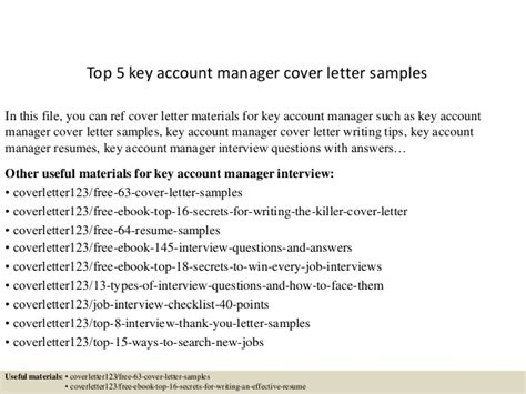 Letter Of Recommendation Key Account Manager top 5 key account manager cover letter sles