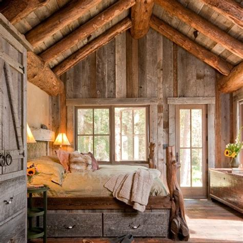 log cabin bedroom with antique wood idea cabin bedroom with high vaulted ceiling love the patina