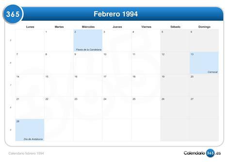 Calendario A O 1994 Calendario Febrero 1994