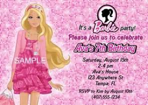 barbie birthday party invitations doll kids birthday