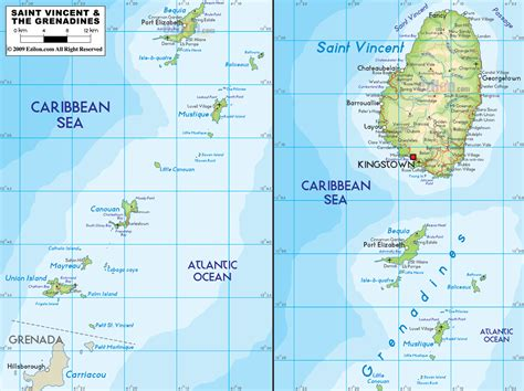 Physical Map of Saint Vincent and The Grenadines   Ezilon Maps