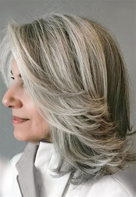 white highlights to blend in gray hair grey blending a1 single process color pinterest gray