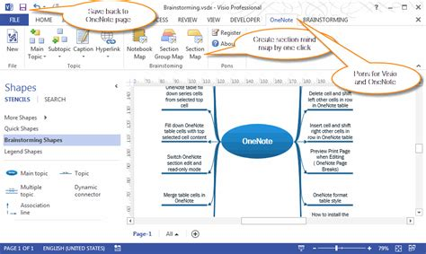 visio mind map template create new visio brainstorming mindmap drawing in