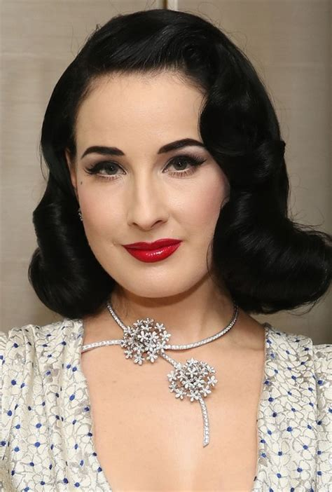 1950 short hairstyles for oval faces dita von teese retro jet black updo with a low curly