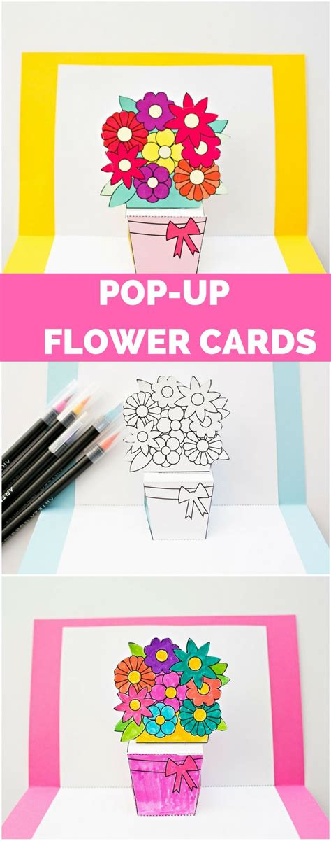 Pop Up Card 1 diy pop up flower cards with free printable templates and options to color your own