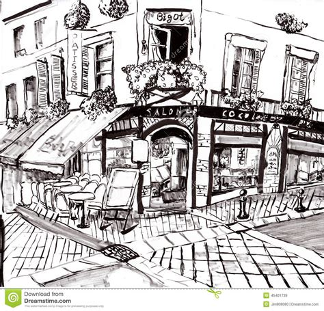 coffee shop design dwg hand draw paris coffee shop stock illustration