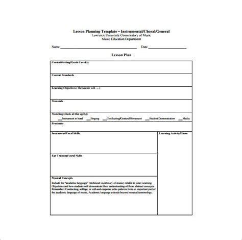 music lesson plan template template design