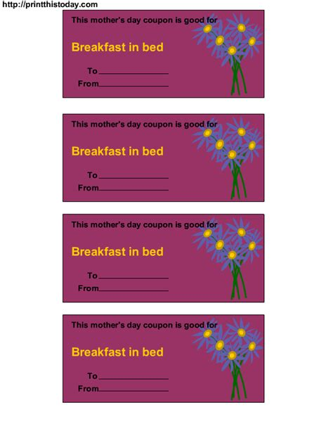 Free Printable Mother S Day Coupons Free Babysitting Coupon Template