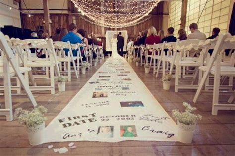 a walk down memory lane aisle runner party wedding