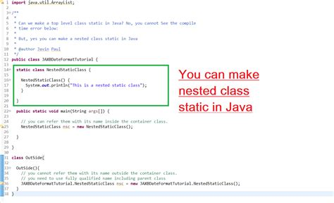 java tutorial nested classes can we declare a class static in java