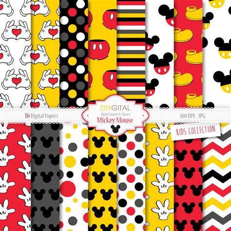 mickey mouse digital mickey mouse inspired digital paper mickey mouse