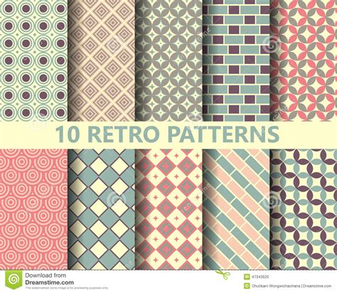 geometric pattern fill corel draw download 10 retro geometric patterns stock vector illustration of