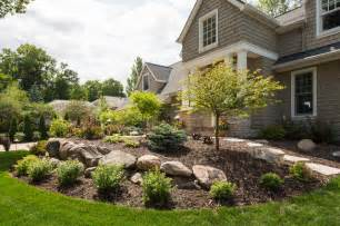 Raised Cedar Garden Bed - front yard with boulder wall and shrub bed traditional landscape minneapolis by