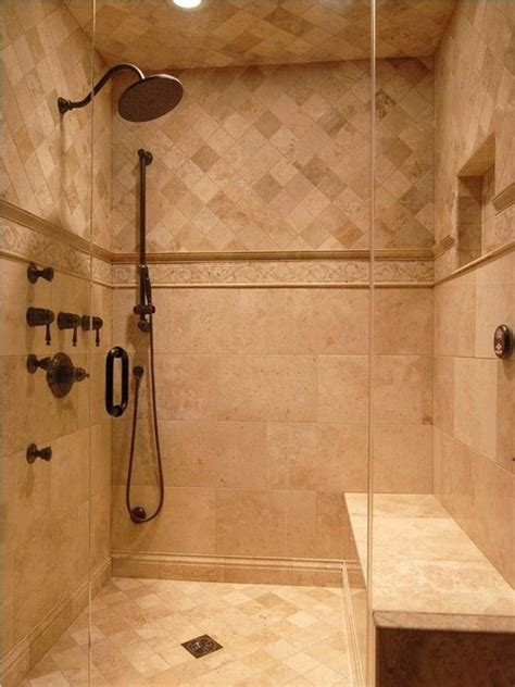 rustic black shower and beige tiles design